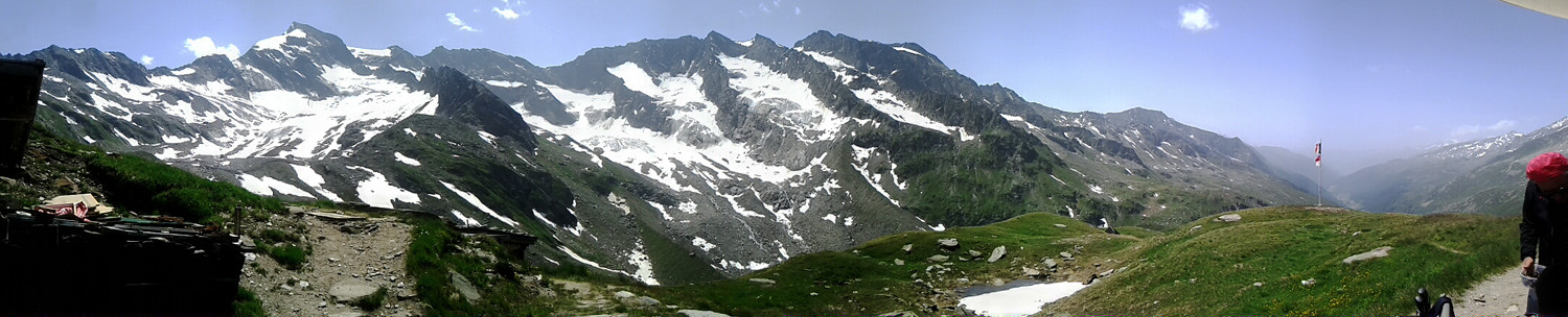 The panoramic view from Birnlückenhütte in South Tyrol, Italy.