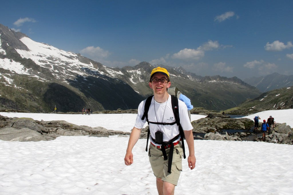 My brother hiking over snow, just below the Krimmler Tauern alpine pass.