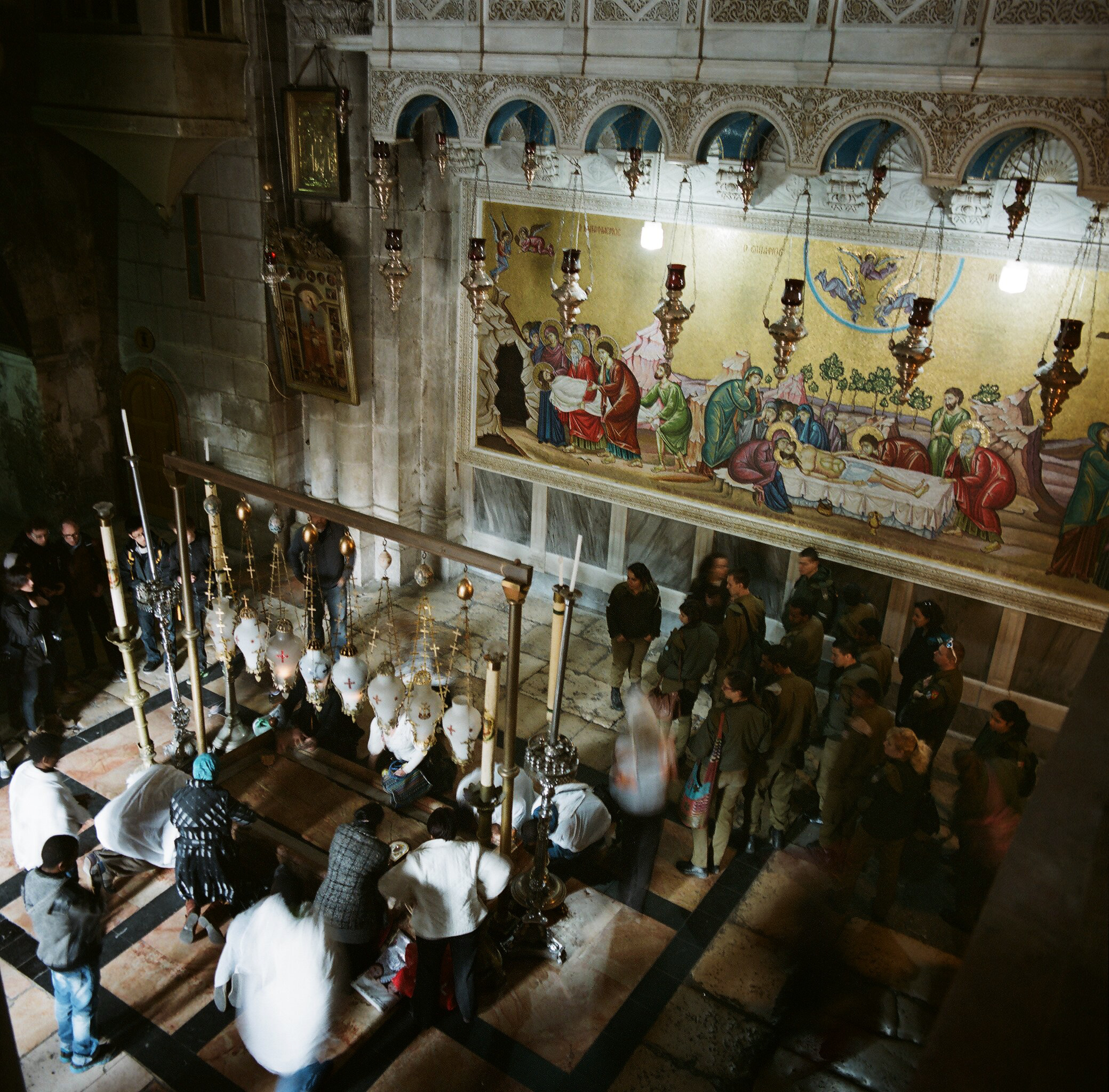 The Stone of Anointing in the Church of the Holy Sepulchre, Jerusalem, Israel.