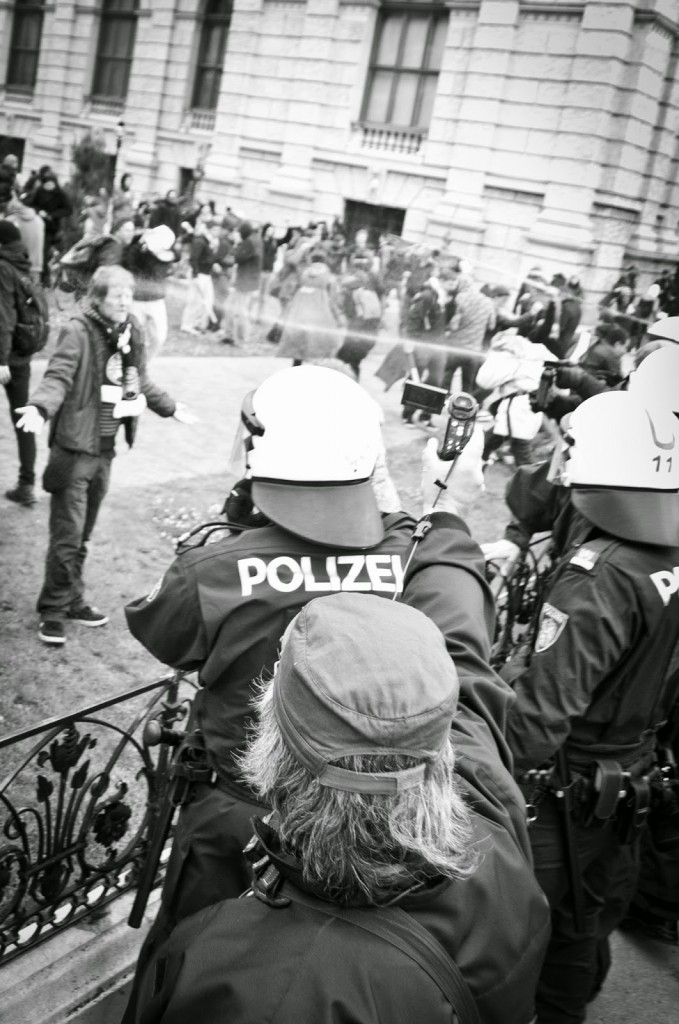 Vienna police pepperspray an anti-fascist protester in Vienna on 17 May 2014. Photo by cglanzl; CC-BY-NC 3.0
