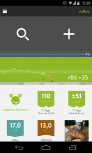 A screenshot of the mySugr Companion app for Android.