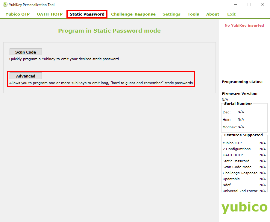YubiKey Personalization Tool - step 1, Static Password