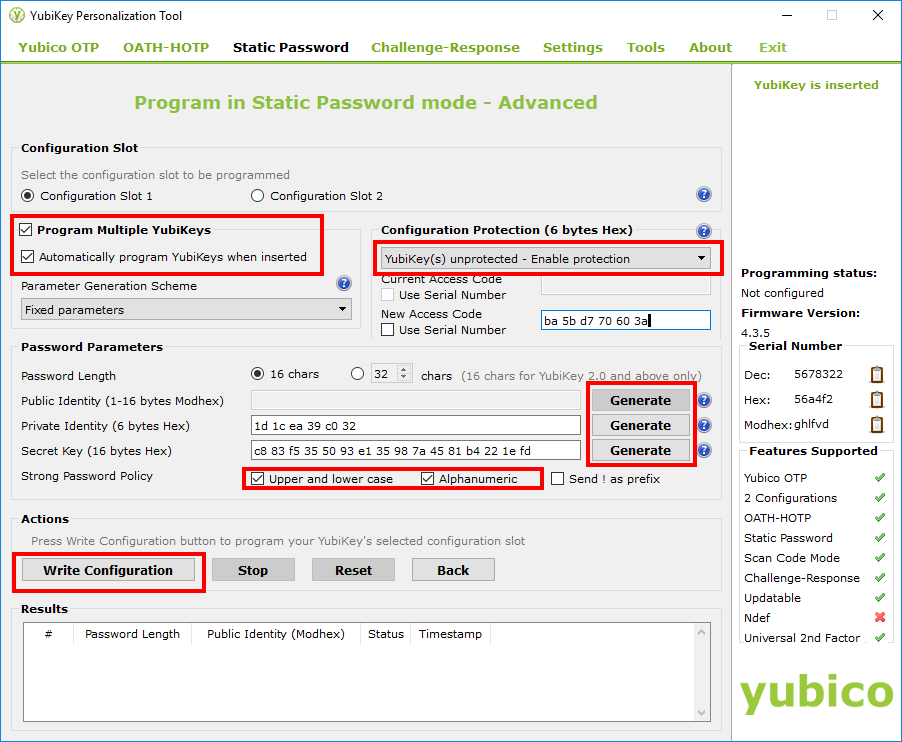 YubiKey Personalization Tool - step 2, Static Password configuration