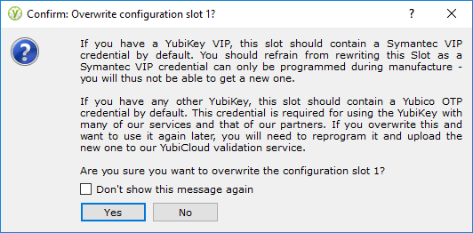 YubiKey Personalization Tool - step 3, write in configuration slot 1