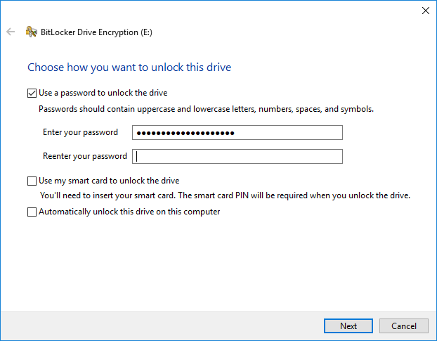 BitLocker step 1 - password entry