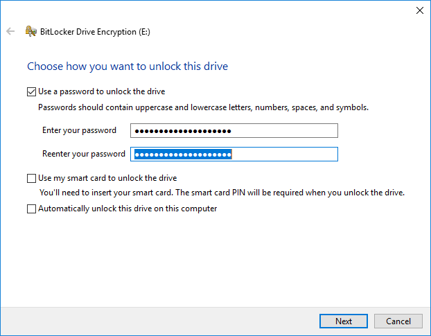 BitLocker step 3 - password entry 3