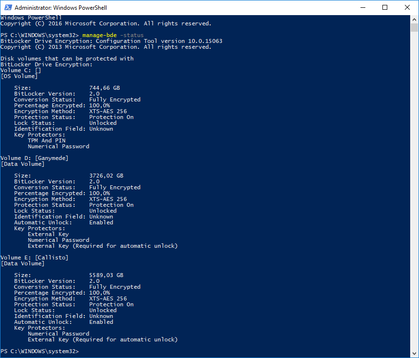 PowerShell manage-bde -status