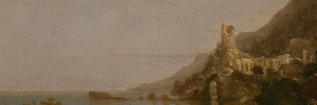 """Ausschnitt des Bildes """"Desolation"""" aus dem Zyklus """"The Course of Empire"""" von Thomas Cole aus 1836. Der Ausschnitt zeigt eine große steinerne Säule, die in der Mitte abgebrochen ist. Die Säule und sie umgebende Gebäude werden bereits von Pflanzen überwachsen."""