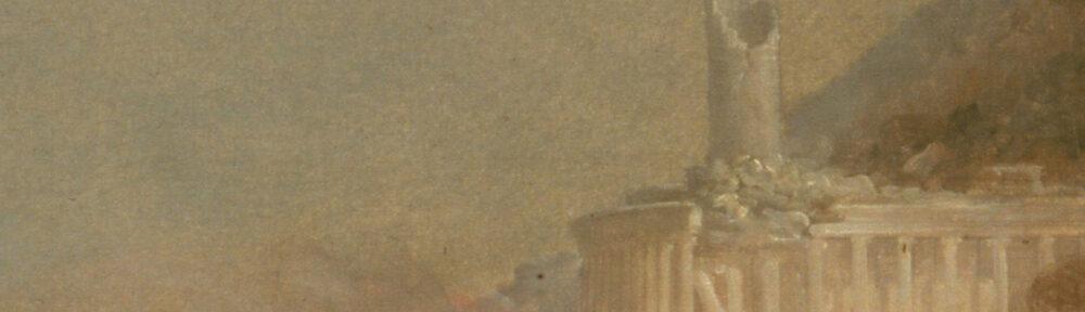 """Ausschnitt des Bildes """"Destruction"""" aus dem Zyklus """"The Course of Empire"""" von Thomas Cole aus 1836. Der Ausschnitt zeigt eine große steinerne Säule, die in der Mitte abgebrochen ist. An ihrem Fuß liegen die Trümmer."""